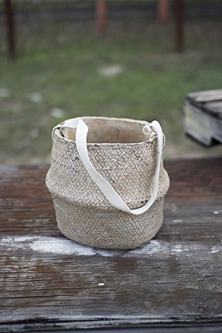 Woven Cement pot - Natural W/Cotton Handles - Les Spectacles French Industrial