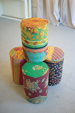 Kantha Covered Metal Stools - Les Spectacles French Industrial