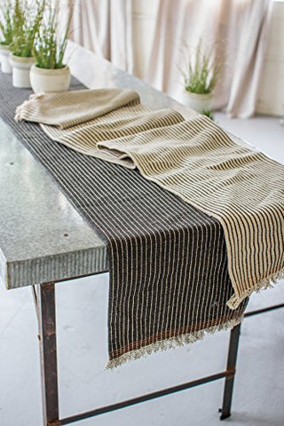 Set Of Two Cotton And Jute Table Runners - Les Spectacles French Industrial