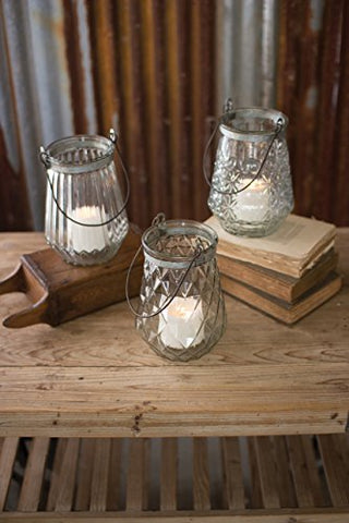 Set/3 Glass Lanterns With Wire Handles - One Each Design - Les Spectacles French Industrial