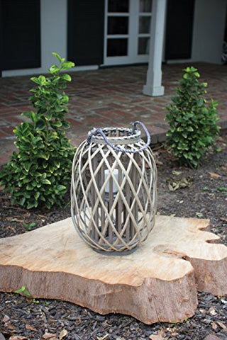 Grey Willow Lantern With Glass - Small - Les Spectacles French Industrial