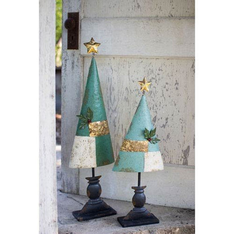 Set Of Two Painted Metal Trees - Les Spectacles French Industrial