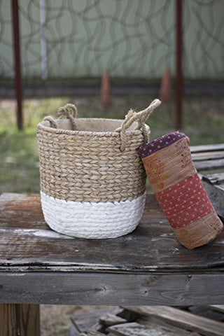 Natural & White Large Braided Cement pot W/Jute Handles - Les Spectacles French Industrial