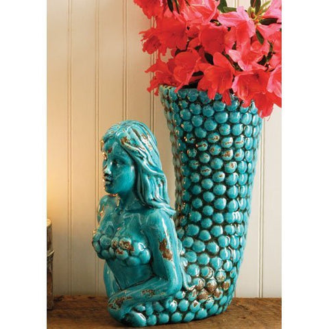 Turquoise Ceramic Mermaid Vase - Les Spectacles French Industrial