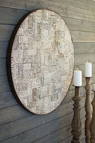 Recycled Block Print Round Wall Panel W Rustic Iron Frame - Les Spectacles French Industrial