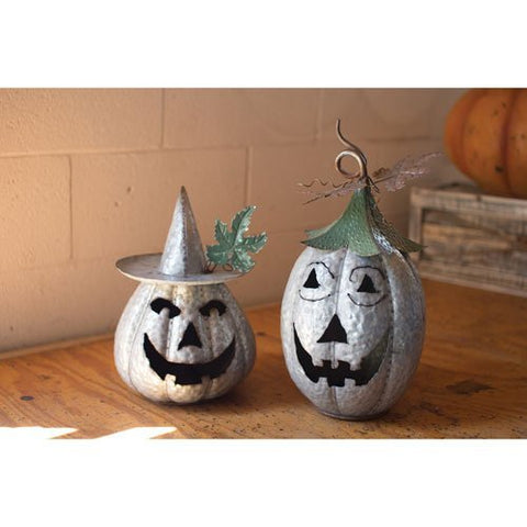 Set Of Two Galvanized Jack-O-Lanterns - Les Spectacles French Industrial