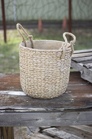 Large Braided Cement pot W/Jute Handles-Natural - Les Spectacles French Industrial
