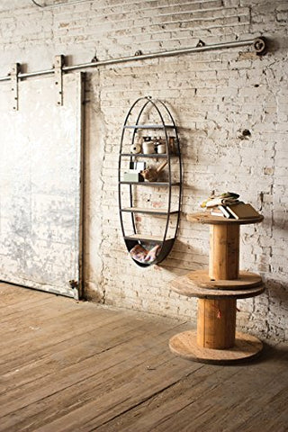 Metal And Wood Oval Wall Shelf - Les Spectacles French Industrial