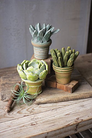 Set Of Three Clay Succulents With Pots - Les Spectacles French Industrial