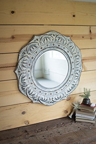 Pressed Metal Flower Wall Mirror (Rebox) - Les Spectacles French Industrial