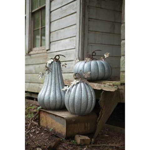 Galvanized Pumpkin With Rustic Detail-16D X 25.5T - Les Spectacles French Industrial