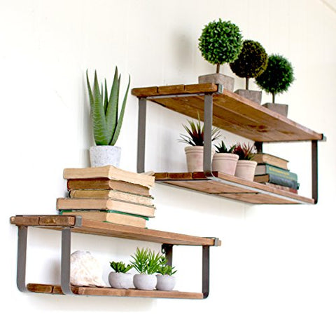 Set Of Two Recycled Wood And Metal Shelves - Les Spectacles French Industrial