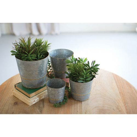 Set Of Four Tapered Zinc Planters With Brass Beads