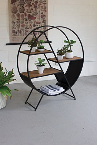 Metal And Wood Round Shelf - Les Spectacles French Industrial