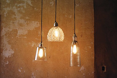 Glass Pendant Lamp W Brushed Silver Cap And Canopy-7X10 - Les Spectacles French Industrial