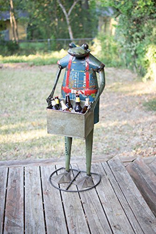 Recycled Metal Standing Frog With Removable Drink Tub - Les Spectacles French Industrial