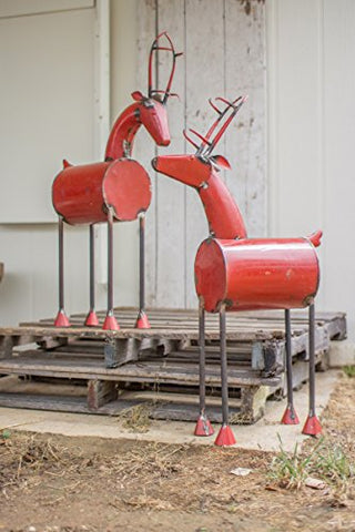 Set Of Two Recycled Metal Red Reindeer Head Up - Les Spectacles French Industrial