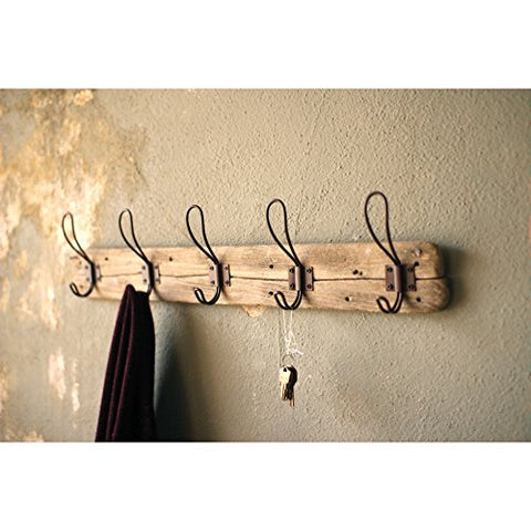 Recycled Wood Coat Rack With Rustic Hooks - Les Spectacles French Industrial