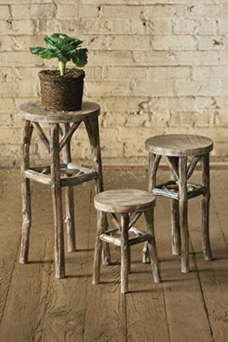 Set Of Three Round Whitewashed Pedestals With Twig Legs - Les Spectacles French Industrial