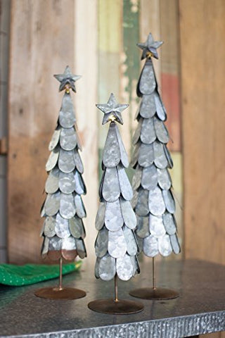Set Of Three Galvanized Trees With Star Finial