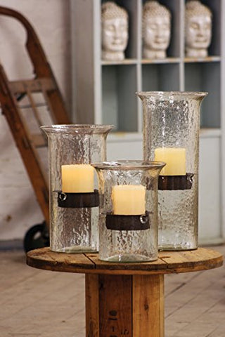 Original Glass Candle Cylinder W Rustic Insert - Medium - Les Spectacles French Industrial