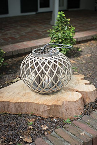 Low Round Grey Willow Lantern With Glass - Small - Les Spectacles French Industrial