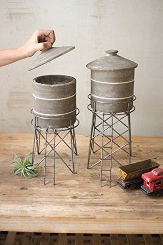 Set 2 Grey Wash Clay Water Tower Canisters W Raw Metal Base