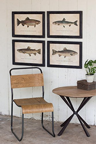 Set Of 4 Trout Prints Under Glass - Les Spectacles French Industrial