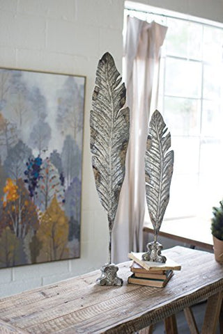 Set Of 2 Painted Metal Leaf Sculptures - Les Spectacles French Industrial