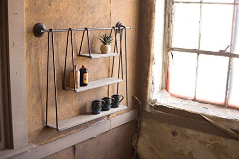 Wood And Metal Triple Hanging Shelf - Les Spectacles French Industrial