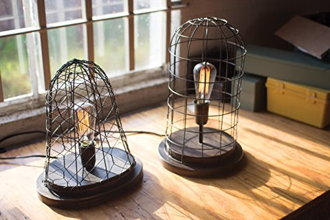 Aged Brass Finish Wire Cage Desk Lamp - Les Spectacles French Industrial