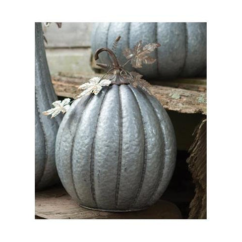 Galvanized Pumpkin With Rustic Detail-13.5D X 18T - Les Spectacles French Industrial