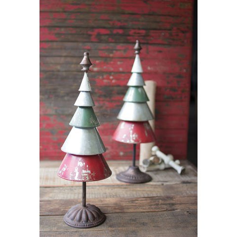 Set Of Two Galvanized Red And Green Metal Trees