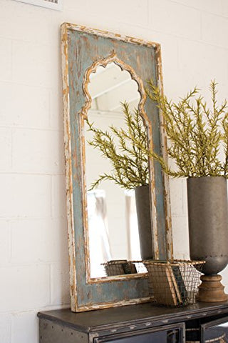 Painted Wooden Mirror - Les Spectacles French Industrial
