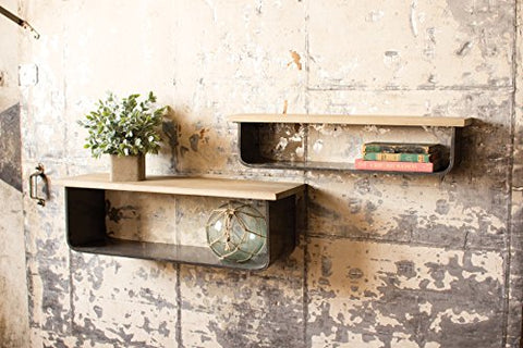 Set Of 2 Metal And Wood Shelves - Les Spectacles French Industrial
