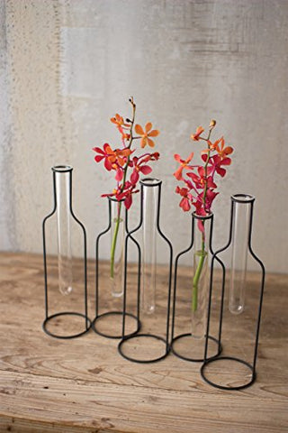 Five Wire Bottle Bud Vases - Les Spectacles French Industrial