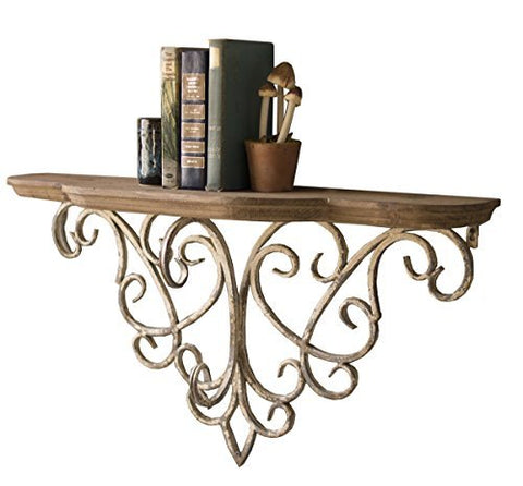 Wood Top Shelf With Metal Filigree Detail - Les Spectacles French Industrial