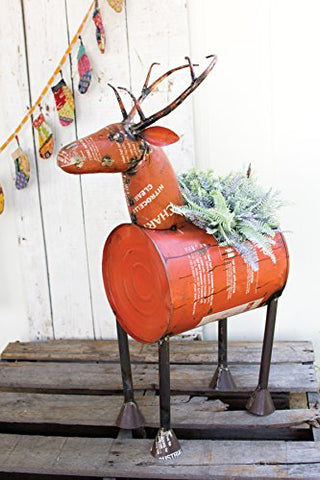 Red Reclaimed Metal Barrel Deer pot Or Cooler - Les Spectacles French Industrial