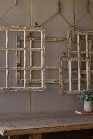 Set Of Four Window Frame Wall Art - Les Spectacles French Industrial