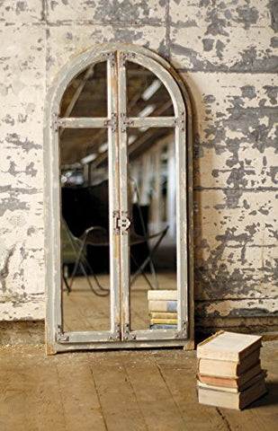 Mirror With Arched Wooden Frame - Les Spectacles French Industrial