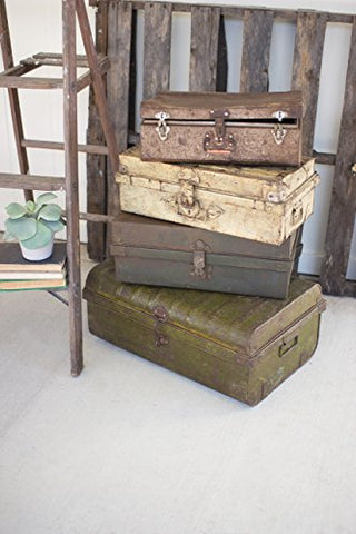 Set Of Four Rustic Metal Antique Suit Cases - Les Spectacles French Industrial