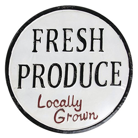 "Painted Tin ""Fresh Produce"" Sign - Les Spectacles French Industrial"