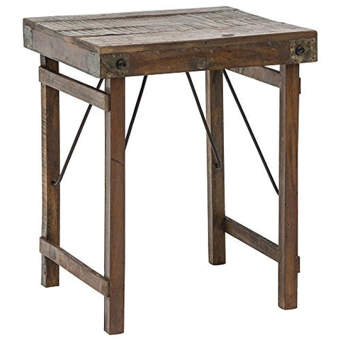 Wooden Side Table With Folding Legs - Les Spectacles French Industrial