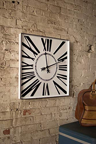 Square Enamelware Black And White Clock - Les Spectacles French Industrial