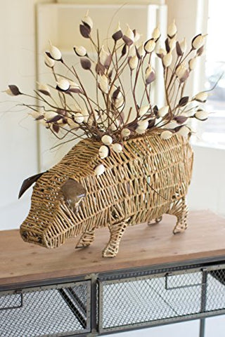Woven Seagrass Pig pot - Les Spectacles French Industrial