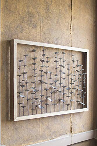 Wood Framed Metal Leaves Wall Hanging