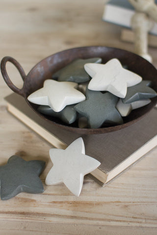 Set Of Six Hand Carved Stone Stars - Light Grey