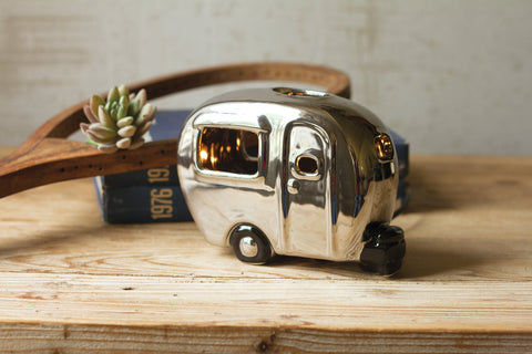 Silver Ceramic Camper Lamp - Les Spectacles French Industrial
