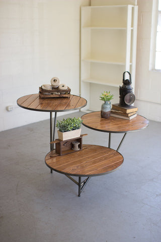 Three Tiered Round Wood And Metal Display - Les Spectacles French Industrial