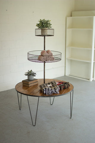 Three Tiered Wood And Wire Display Table - Les Spectacles French Industrial